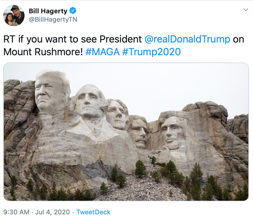 Image for HAGERTY: AFFIX TRUMP TO MOUNT RUSHMORE